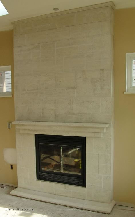 limestone fireplace surround